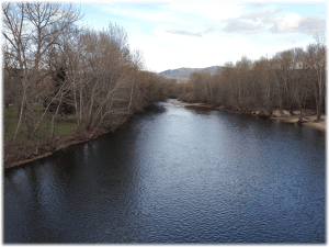 The Boise River, from the Friendship Bridge, Boise State University